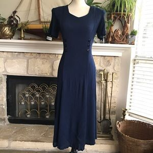 Vintage Chiasso navy blue corset back Midi dress